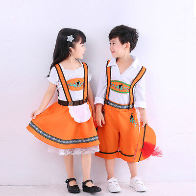 Kinder Mädchen Dirndl Kleid Jungen Bavarian Oktoberfest Trachtenset (Lederhosen Kostüm Mädchen)