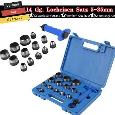 Henkel Lochstanze Satz 5-35 mm Stanzeisen Set Loch Werkzeug Leder Locher 14 tlg