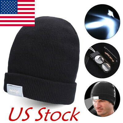 5-LED Light Cap Beanie Hat with 2 Batteries for Hunting Camping Running Fishing - Led Lights For Hats