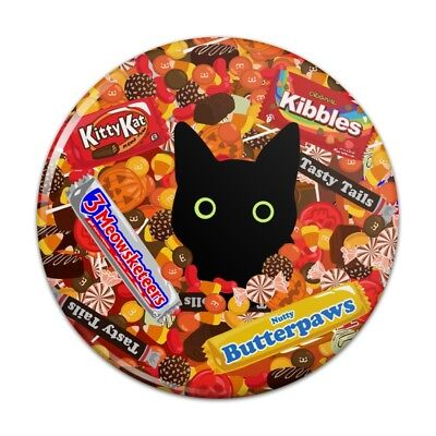 Halloween Black Cat Hiding in Candy  Compact Pocket Purse Hand Makeup Mirror