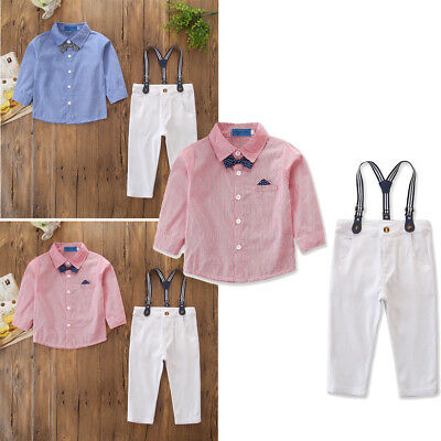 US Stock Toddler Baby Kid Boys Wedding Gentlemen Suit Suspenders Outfits Clothes - Suits Outfits