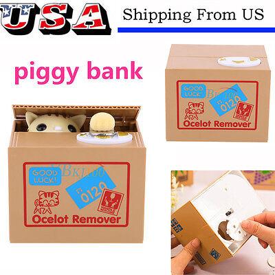 Funny Itazura kitten Cat Steal Money Coin Saving Box Piggy Bank Kids Gift Toy