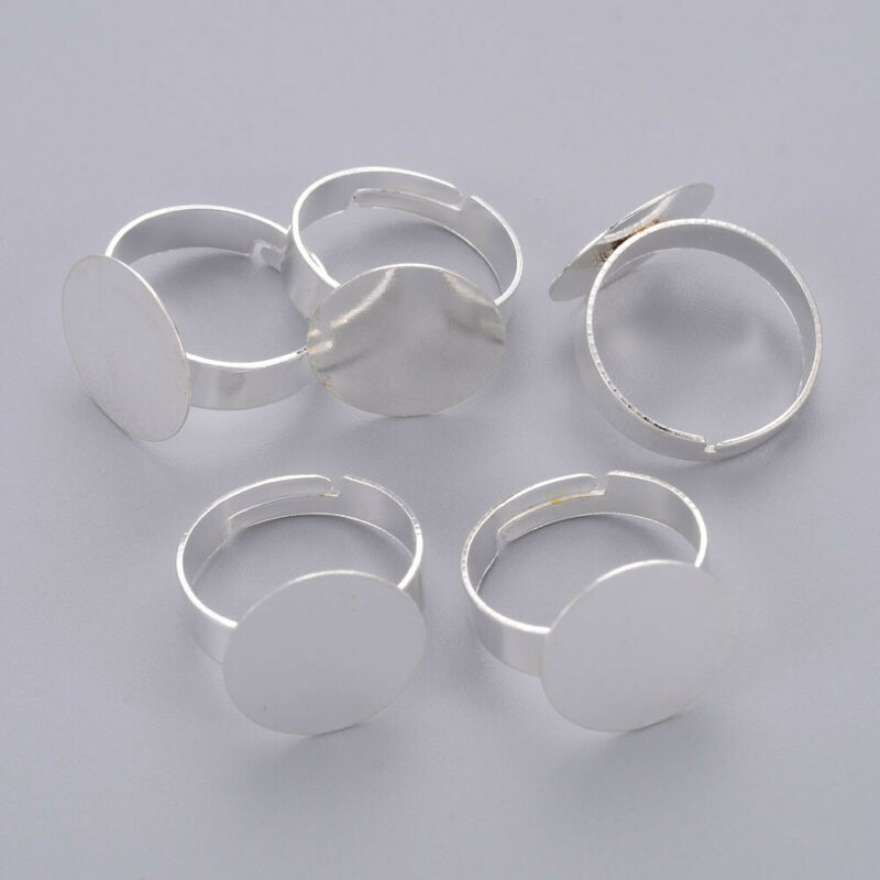 10Pcs 18mm Adjustable Iron Silver Pad Ring Base Findings for Jewelry Ring Making