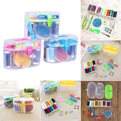 Thread Threader Needle Tape Measure Scissor Thimble Storage Box Bag Sewing Kit