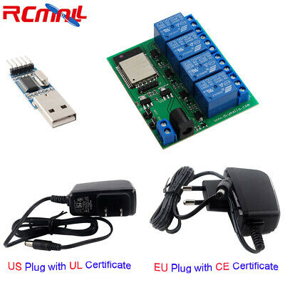 Esp32 4 Channel Wifi Bluetooth Relay Module Eu Adapter Charger Usb To Ttl Module