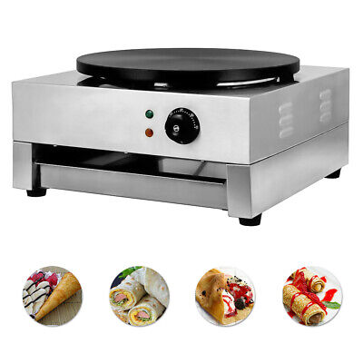 Electric Crepe Maker Pan 16 Baking Pancake Frying Griddle Machine Commercial