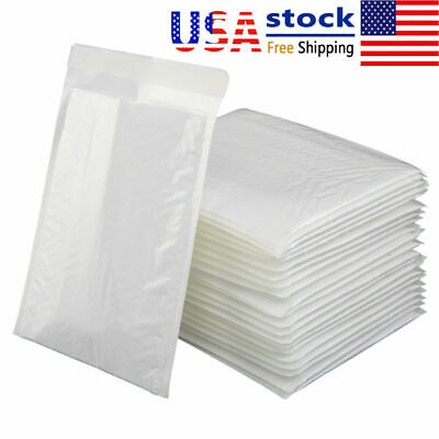 25pcs Poly Bag Bubble Mailers 4x8inch Small Shipping Envelopes Padded Bags White