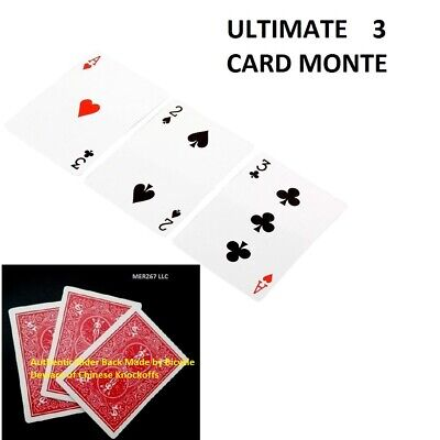 ULTIMATE 3 CARD MONTE GIMMICK CHASE THE ACE RED BACK CARDS NEW EASY MAGIC -