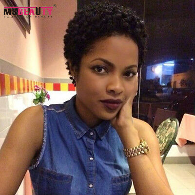 Afro Curly Short Brazilian Remy Hair Machine Made Human Hair Wig For Black Women
