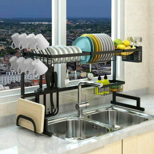 Over The Sink Dish Drying Rack Stainless Steel Kitchen Cutle
