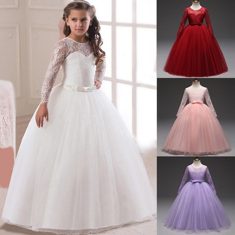 Flower Girl Formal Dress Maxi Long Kids Party Prom Bridesmaid Wedding Dresses