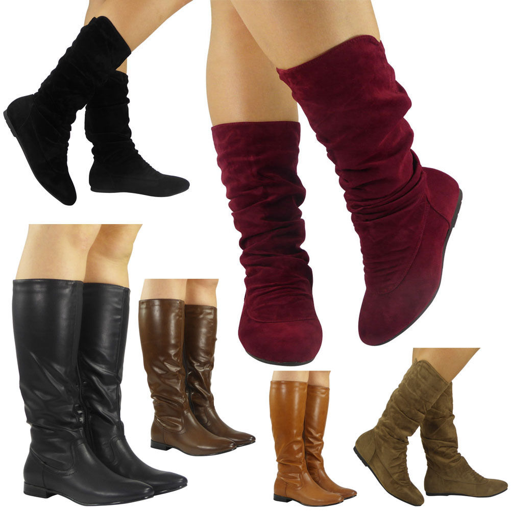 a78b29baf63208 Details about Womens Pixie Mid Calf Rouched Flat Pull On Ladies Slouch  Boots Size