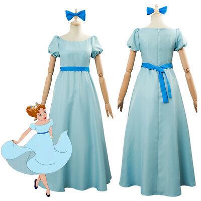 Peter Pan Wendy Darling Cosplay Costume Skyblue Dress Halloween Carnival Skirt - Peter Pan Wendy Halloween Costumes