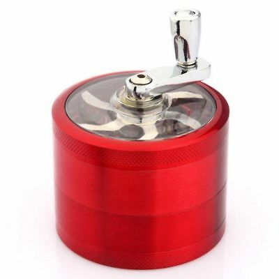 Red 4-Layers Herb Grinder Spice Tobacco/Weed Smoke Metal Crusher Leaf Design