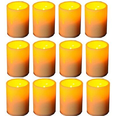 12PCS Resin Pillar Flameless LED Candle Light w/ 4 & 8 Hour