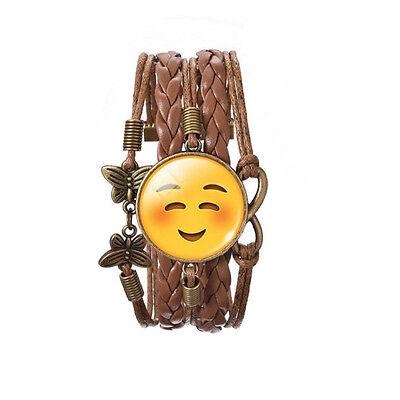 Glückliches Gesicht Lächeln Emoji Bronze Braunes Leder Emotions Armreif Armband