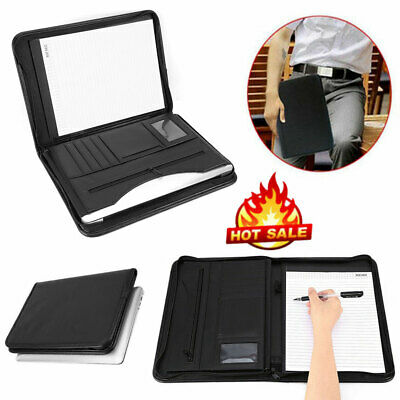 A4 Zipped Conference Folder Portfolio Case Business Document Organiser Black