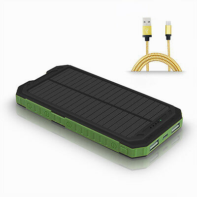 Usa 50000Mah Solar Portable Power Bank 9 Led 2 Usb Battery Charger With Compass