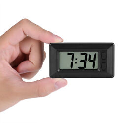 Simple Ultra-thin Black Electric Digital LCD Car Clock Date Time Calendar Clock