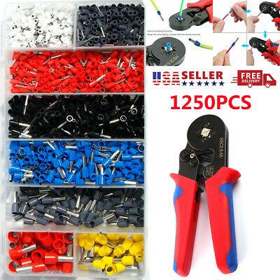 Pro Crimping Tool Crimp Wire Plier Tools Set 1250pcs Wire Ferrule Terminals Us