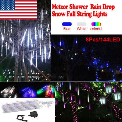 8 Falling Rain Drop Icicle Snow Fall String LED Cascading Home/Tree Lights Decor ()