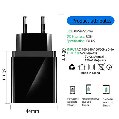 4 Port Fast Quick Charge QC3.0 USB Hub Wall Charger Power Adapter US EU UK Plug Usb Power Plug