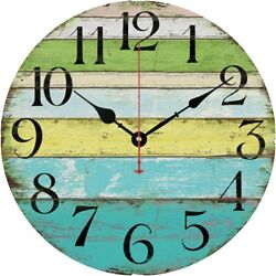 12 Large Indoor/Outdoor Wooden Decorative Rustic Vintage Country Wall Clock USA