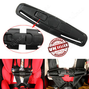 UK Baby Car Safety Seat Strap Child Toddler Chest Harness Clip Safe Buckle Black