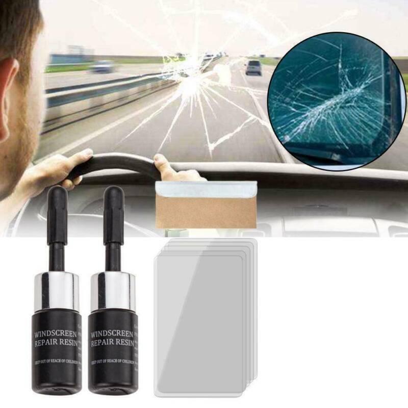 2Set Automotive Glass Repair Fluid Car Window Glass Crack Chip Nano Repair Tool