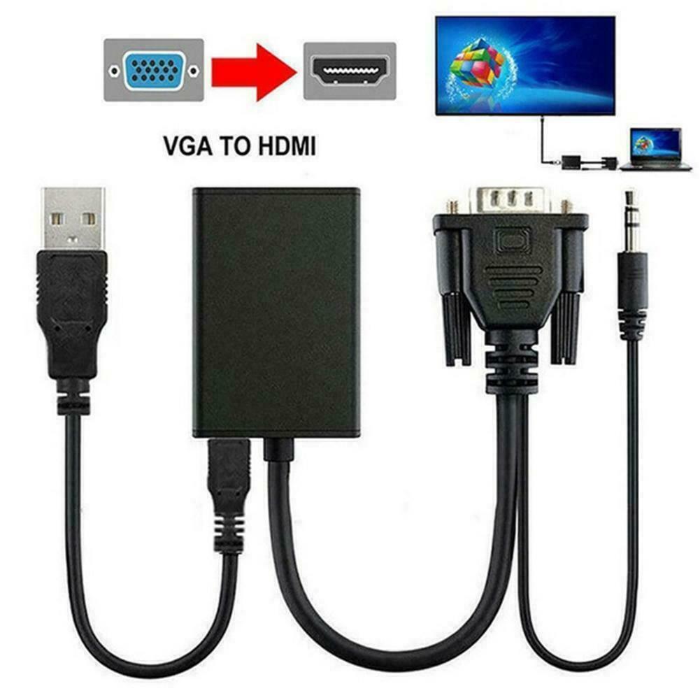 VGA Male To HDMI Output 1080P HD Audio AV HDTV Video Adapter