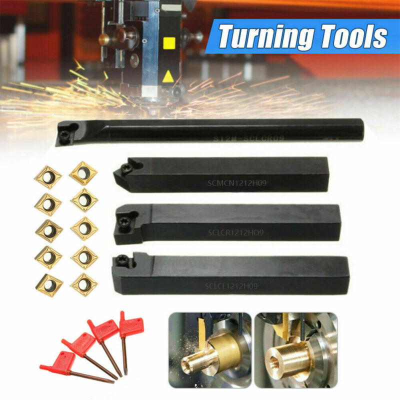 4Set 12mm Shank Lathe Boring Bar Turning Tool Holder Set With Carbide Inserts