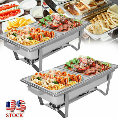 2 Packs Full 9.5 Quart Stainless Steel Chafing Dish Buffet Trays Chafer Wwarmer