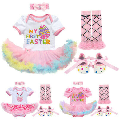 Easter Costume Romper Dress Rabbit Egg Bunny 4pcs Clothes Outfits For Baby Girl