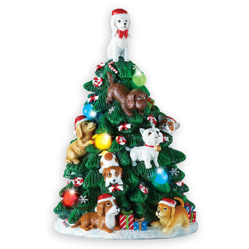 Dog Lighted Tabletop Christmas Tree Decoration