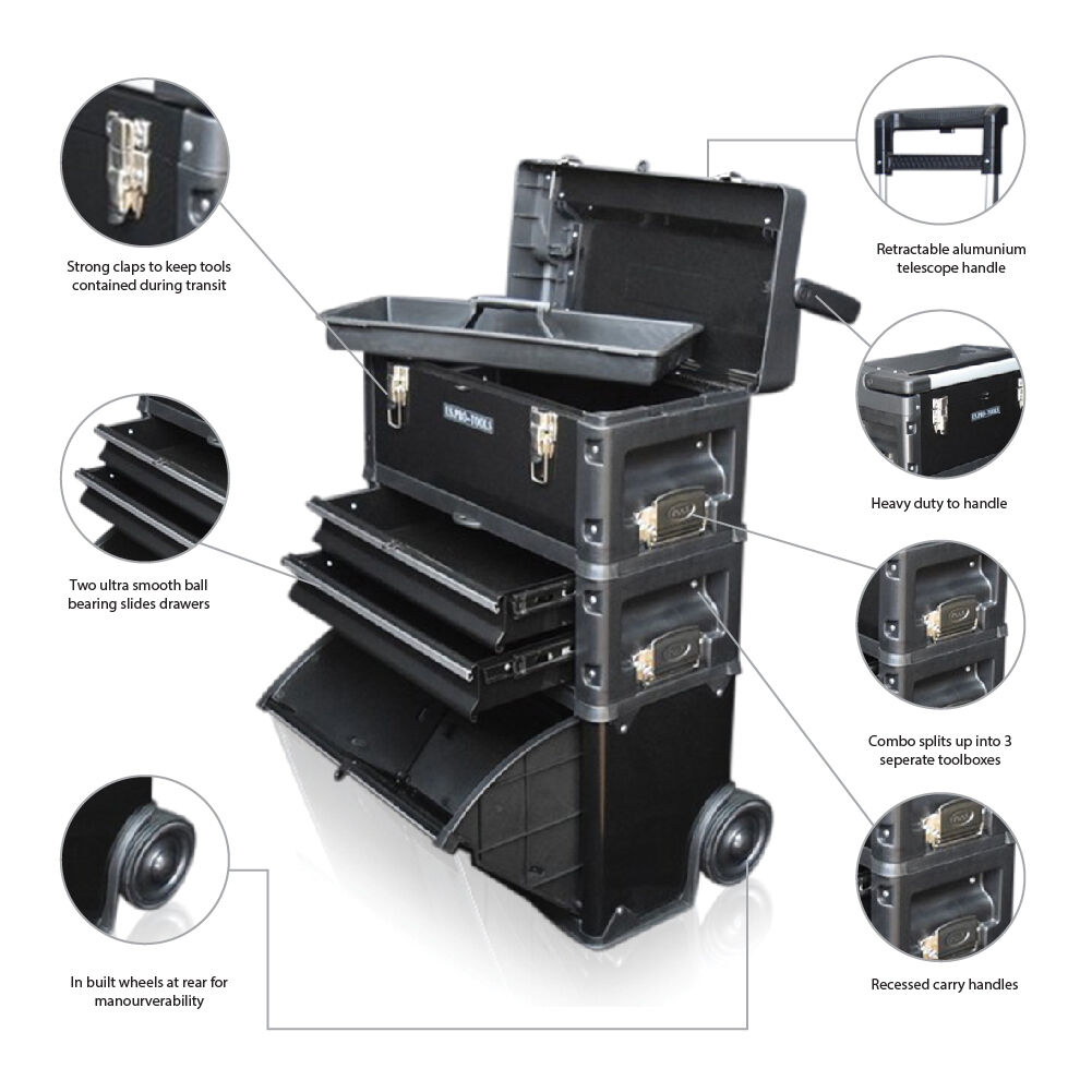 US PRO Tools 3 IN 1 Mobile Rolling Chest Trolley Cart ...