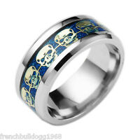 Anello In Acciaio Inox 316l Blu Teschio Death Head Motociclista (re52/blu) -  - ebay.it