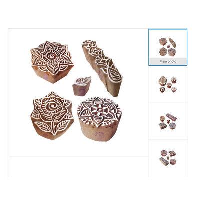 Abstract Block Print Wood Stamps DIY Henna Fabric Paper Clay Printing Blocks Block Print Paper