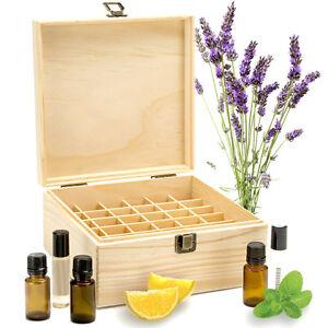 25 Slot Wooden Essential Oil Storage Box Case Organizer Aromatherapy Holder Gift