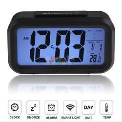 Digital Alarm Desk Clock LED Light Backlight Time Calendar Thermometer Snooze