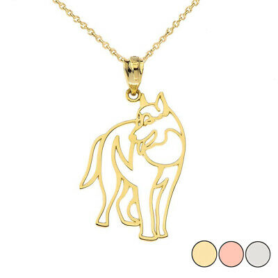 Solid Gold Wolf Cut Out Pendant Necklace In ( Yellow/White/Rose )