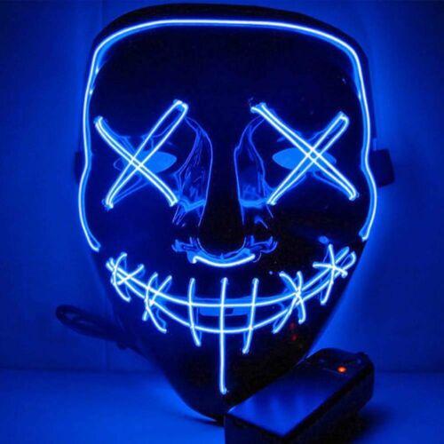 LED Grusel Maske wie aus the Purge - Halloween Horror Verkleidung Gesichtsmaske