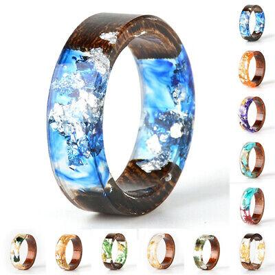 Women Handmade Natural Wood Resin Flower Plants Finger Ring Beauty Jewelry - Resin Flower Rings
