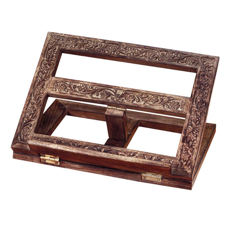 Autom 13 Inch Carved Wood Adjustable Tabletop Bible Stand Holder N.G.