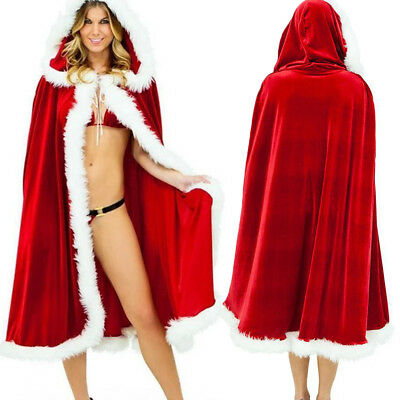 Womens Christmas Hooded Cloak Adult Mrs Santa Claus Xmas Cape Fancy Happy Dress - Mrs Santa Claus Costume