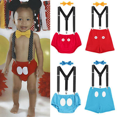 Baby Boy Mickey Mouse 1st Birthday Cake Smash Outfit Suspenders Pants Photo Prop