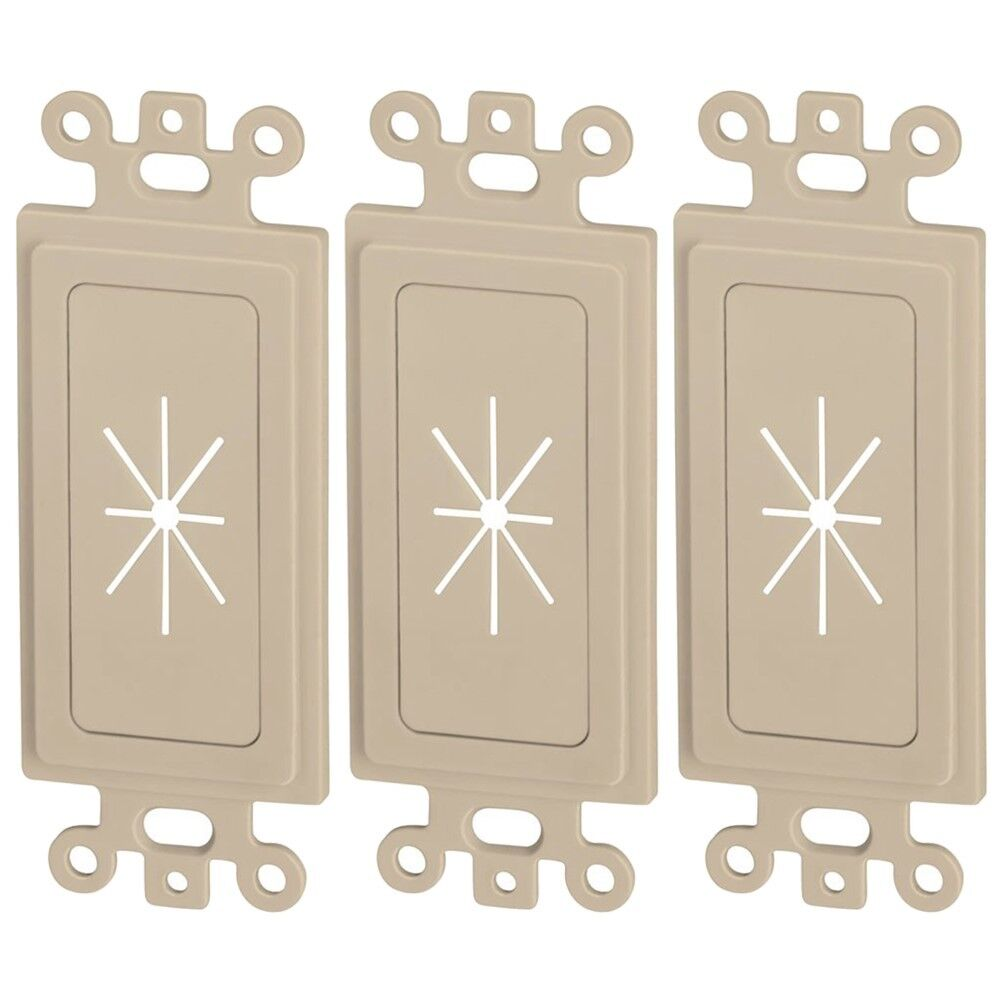3x 1-Gang Ivory Decor Wall Plate Flexible Opening Audio Video Cable Pass Through