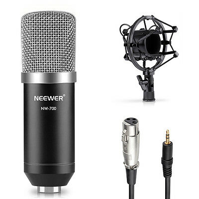 Neewer NW-700 Black Condenser Microphone Kit with Shock Mount / Anti-wind Cap