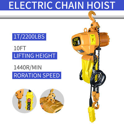1 Ton Electric Chain Hoist 2200 Lb. Electric Crane Hoist Hd Super 2200 10ft Lift