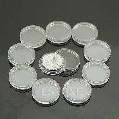 20mm Applied Clear Round Cases Coin Storage Capsules Holder Round Plastic 10pcs