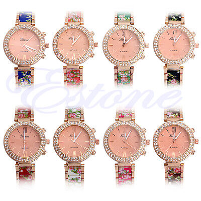 Luxury Fashion Women's Geneva Crystal Stainless Steel Quartz Analog Wrist Watch
